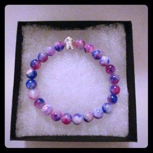 Jewelry - Blue & Magenta Jade Stone Bracelet